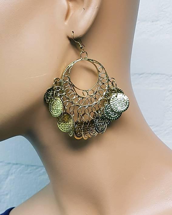 Sakkara Runde, orientalische Ohrringe mit kleinen Münzen