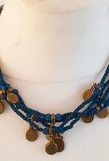 Sakkara Kette mit blauen Perlen und altmüntzen