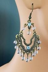 Sakkara Ohrringe altgold mit blauen Steinen