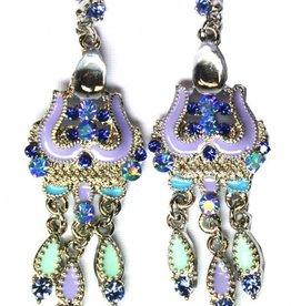 Sakkara Ohrringe mit klare Strass-Steine in blau/lila Silber