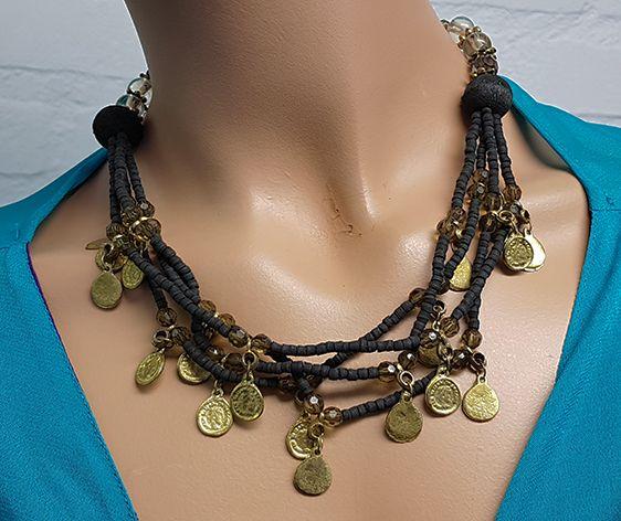 Sakkara Kette mit schwarzen Perlen und Altmüntzen