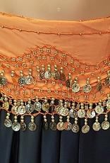 Hüfttuch orange mit goldenen Münzen