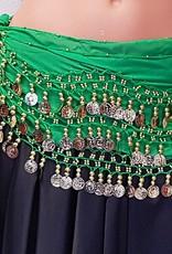 Hüfttuch grün mit goldenen Münzen
