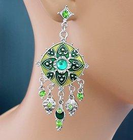 Sakkara grün/silberne Ohrringe mit Strass