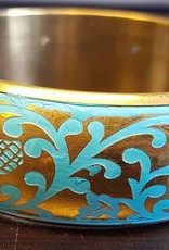 Sakkara Breiter goldener Armreif mit Ornamentmalerei