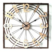 Metalen Wandklok Vierkant - 71,5x6xH71,5 cm
