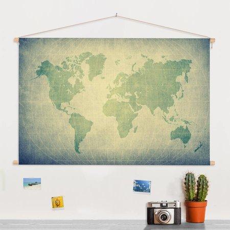 Sweet Living  Groene Wereldkaart Schoolplaat  - 90xH60 cm