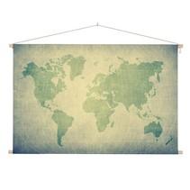 Groene Wereldkaart Schoolplaat  - 150xH90 cm