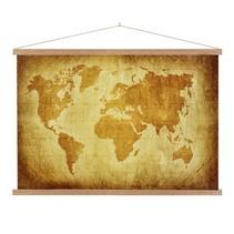 Perkament Wereldkaart Schoolplaat Lat  - 150xH90 cm