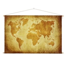 Perkament Wereldkaart Schoolplaat  - 150xH90 cm