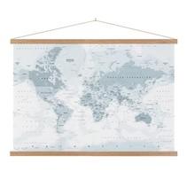 Wereldkaart Grijstinten Schoolplaat Lat  - 150xH90 cm