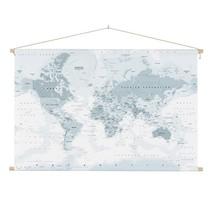 Wereldkaart Grijstinten Schoolplaat  - 150xH90 cm