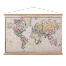Realistische Wereldkaart Schoolplaat Lat   - 150xH90