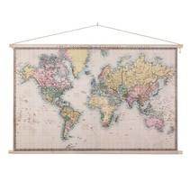 Realistische Wereldkaart Schoolplaat   - 150xH90 cm