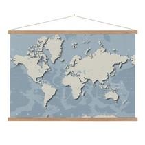 Stoere Wereldkaart Schoolplaat Lat  - 90xH60 cm