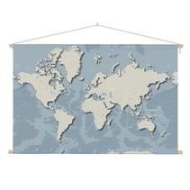 Stoere Wereldkaart Schoolplaat  - 90xH60 cm