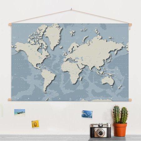 Sweet Living  Stoere Wereldkaart Schoolplaat - 150xH90 cm