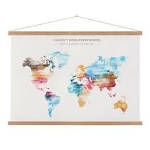 Wereldkaart  Verf Schoolplaat Lat - 90xH60 cm