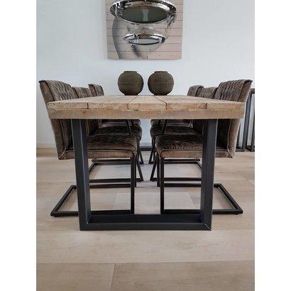 Eettafel blank staal U-frame