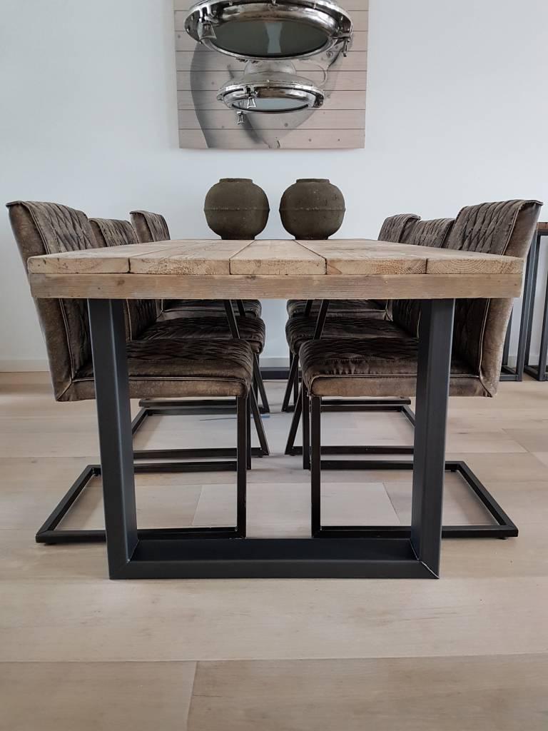 Eettafel u frame naar wens samenstellen firma hout staal for Decoratie industrieel