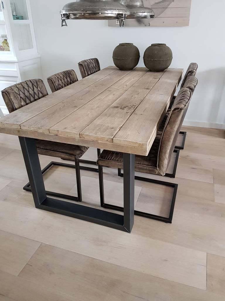 Eettafel u frame naar wens samenstellen firma hout staal for Stalen onderstel tafel laten maken