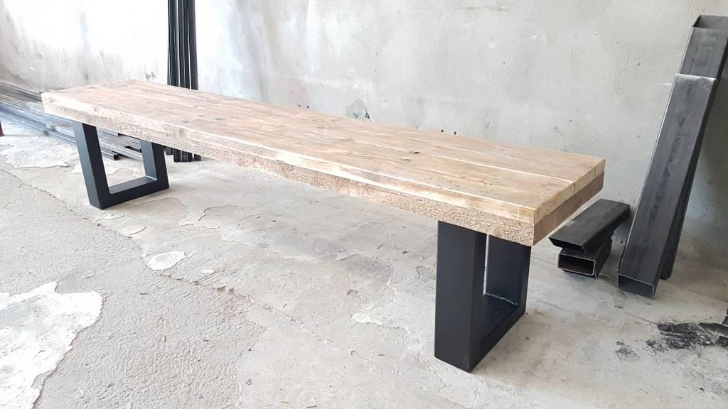 Bankje u frame firma hout staal