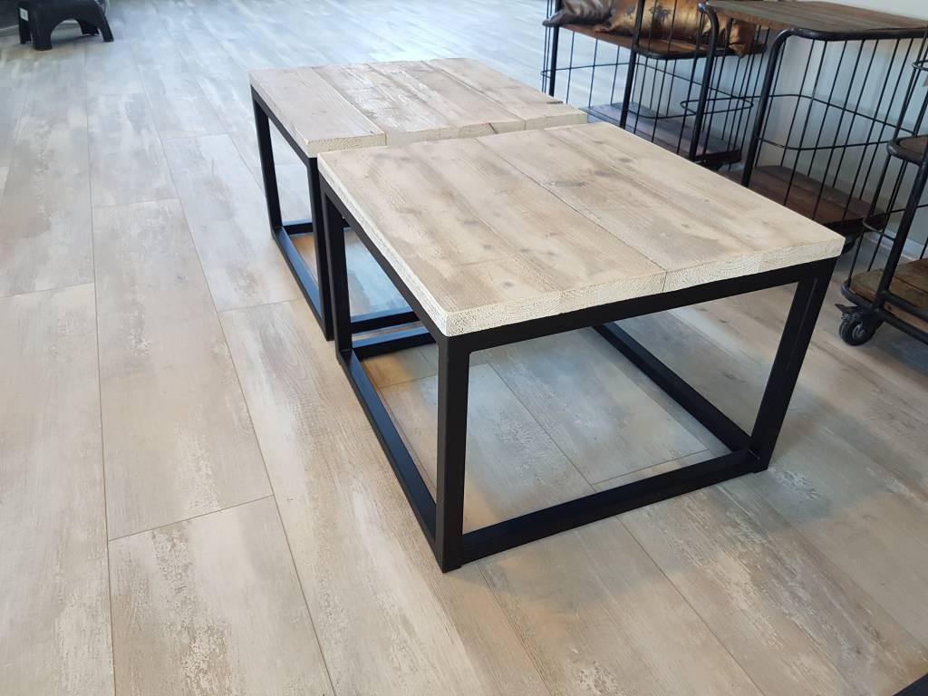 Salon Tafel Hout : Salontafel kubus firma hout staal