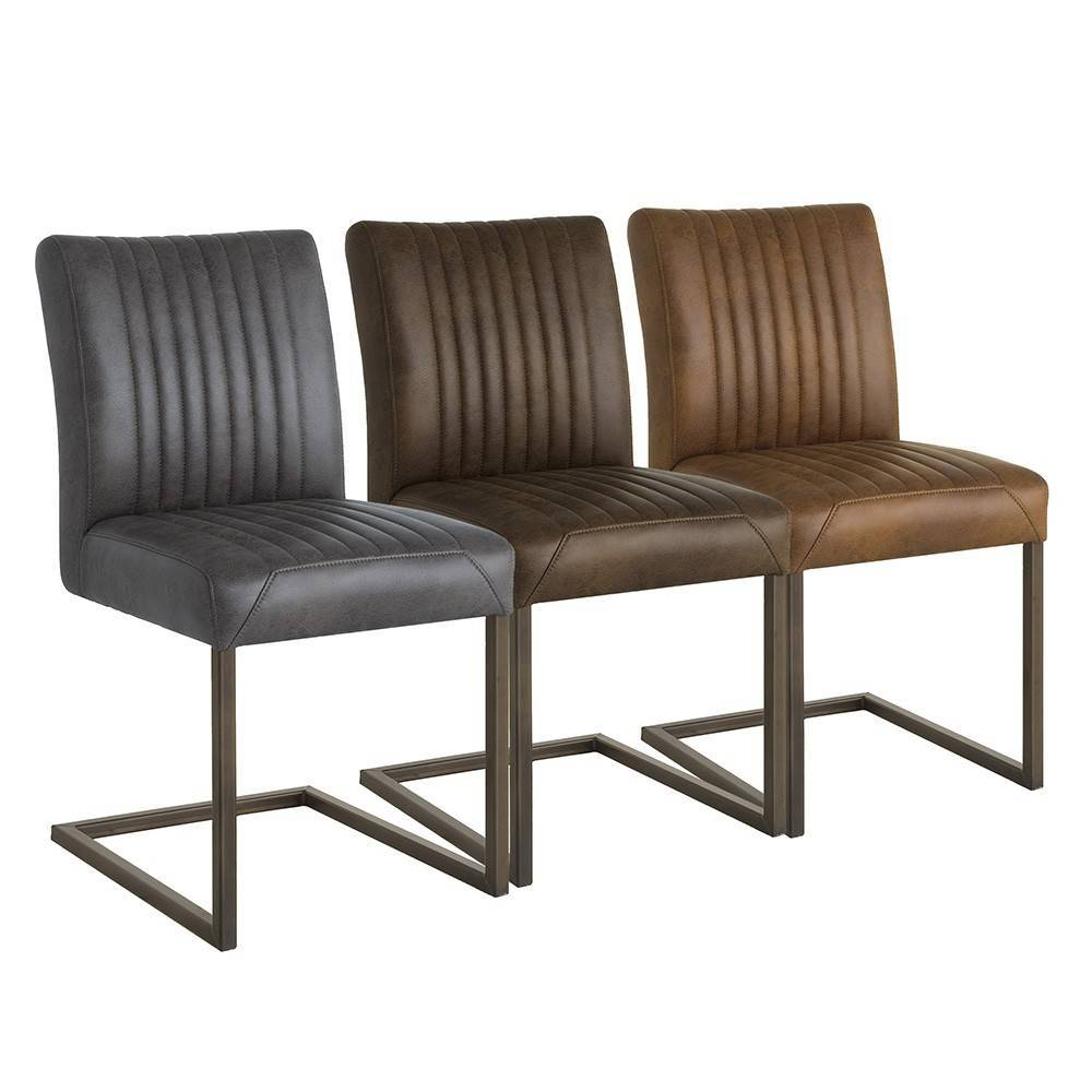 Eetkamerstoel ferro zonder armleuning firma hout staal for Leren eetkamerstoelen zonder armleuning