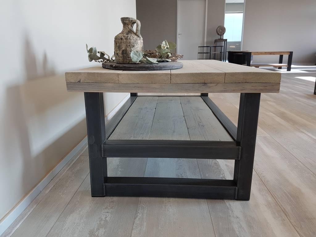 Tv meubel hout staal naar wens samen te stellen firma hout staal