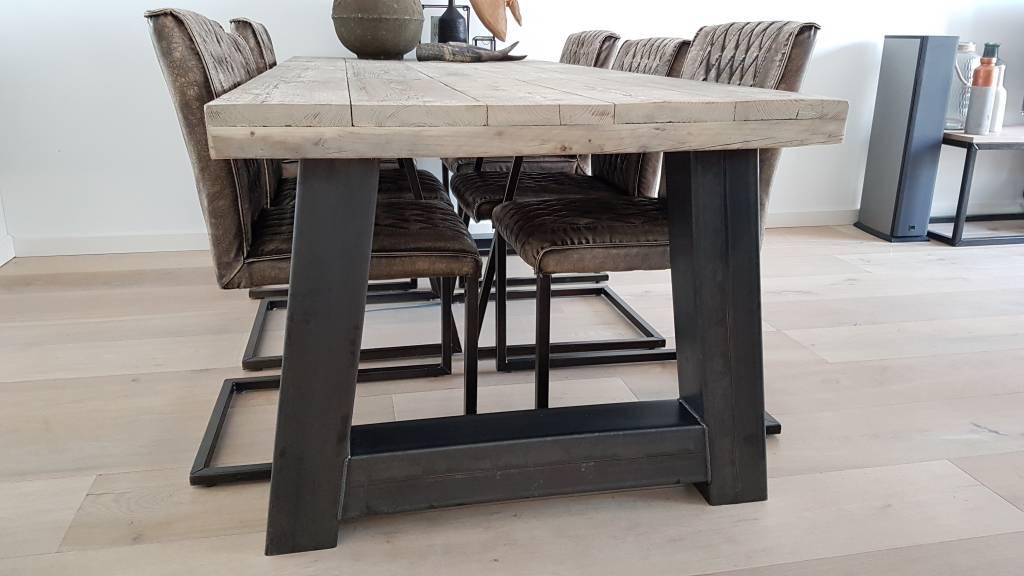 Eettafel naar wens samen te stellen firma hout staal - Eettafel en houten eetkamer ...