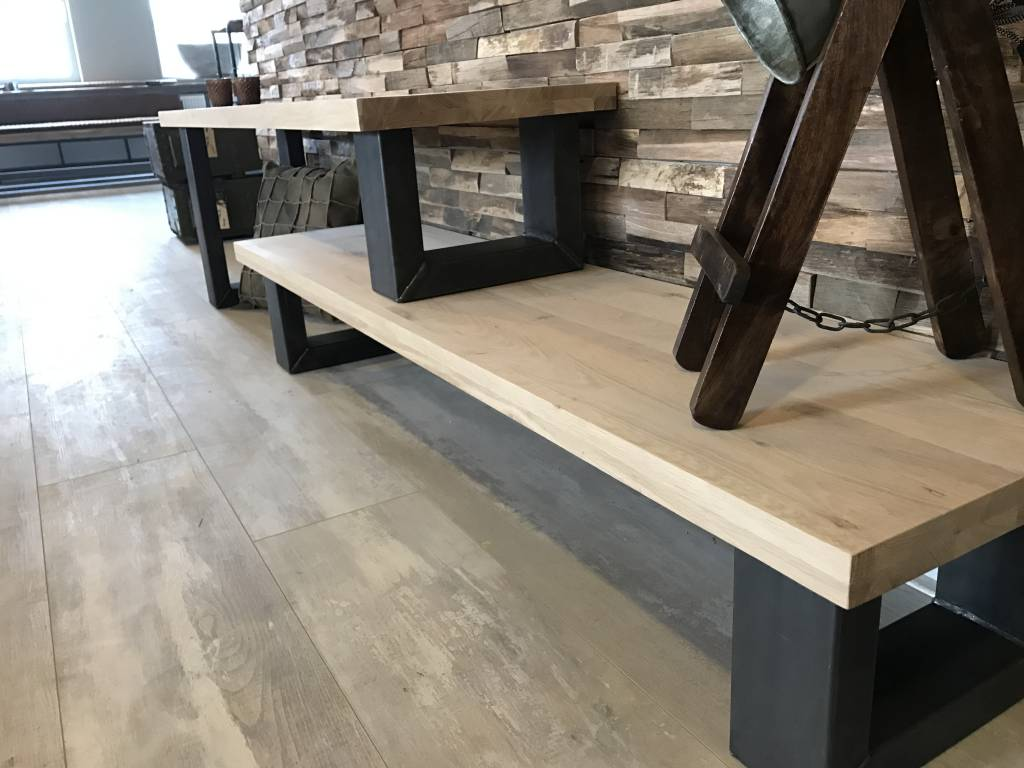 Tv meubel hoog laag firma hout staal