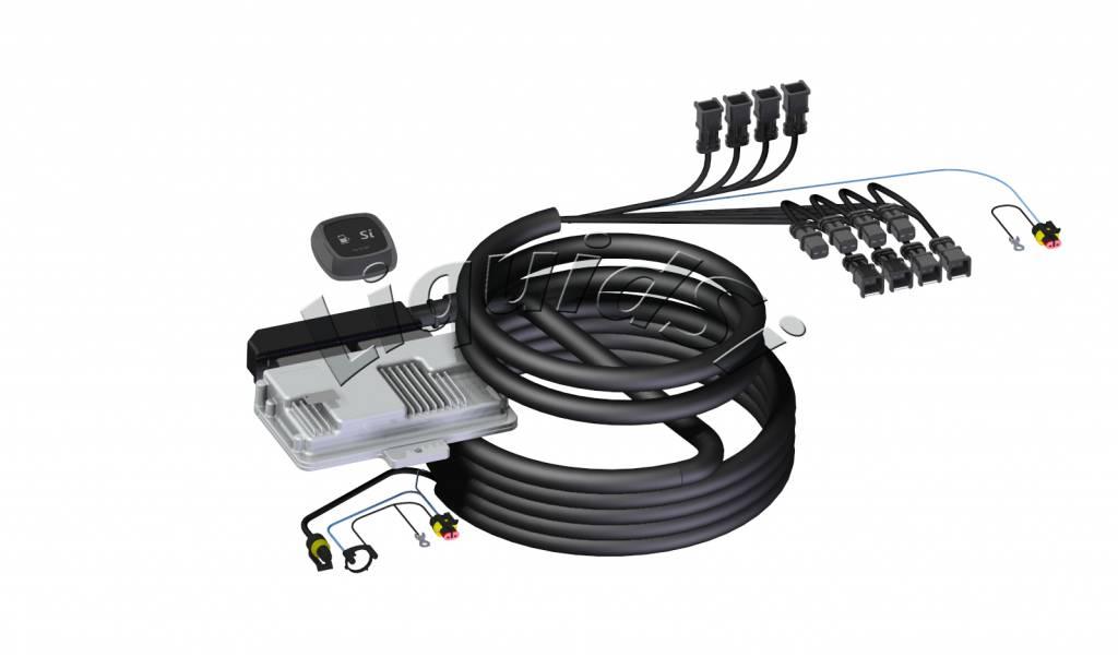 LiquidSi Unidades ECU, el cableado y el selector de combustible.