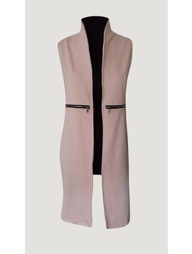 Sleeveless long gillet (Pink)