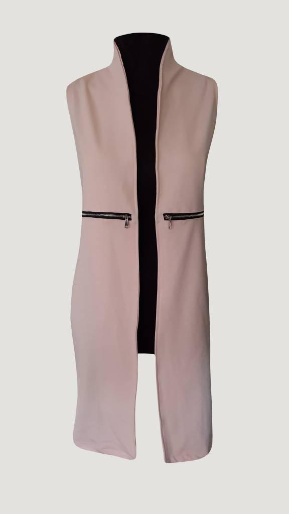 Sleeveless long gillet (Pink)
