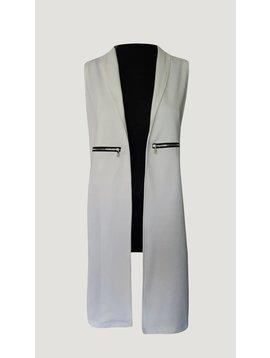 Sleeveless long gillet (White)