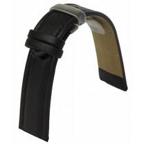 Zwarte lederen horlogeband met vouwsluiting 22 mm