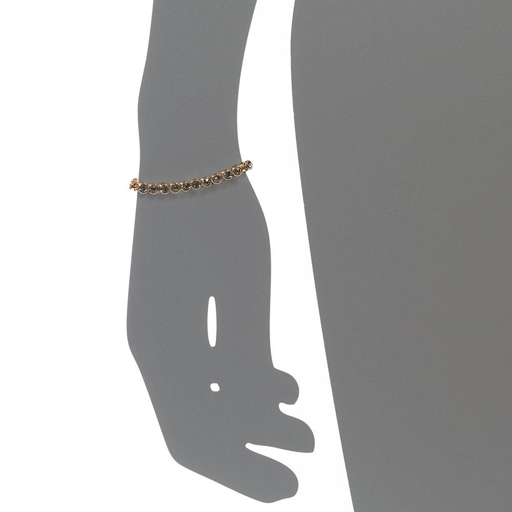 Tennisarmband, grau - Gelbgold vergoldet
