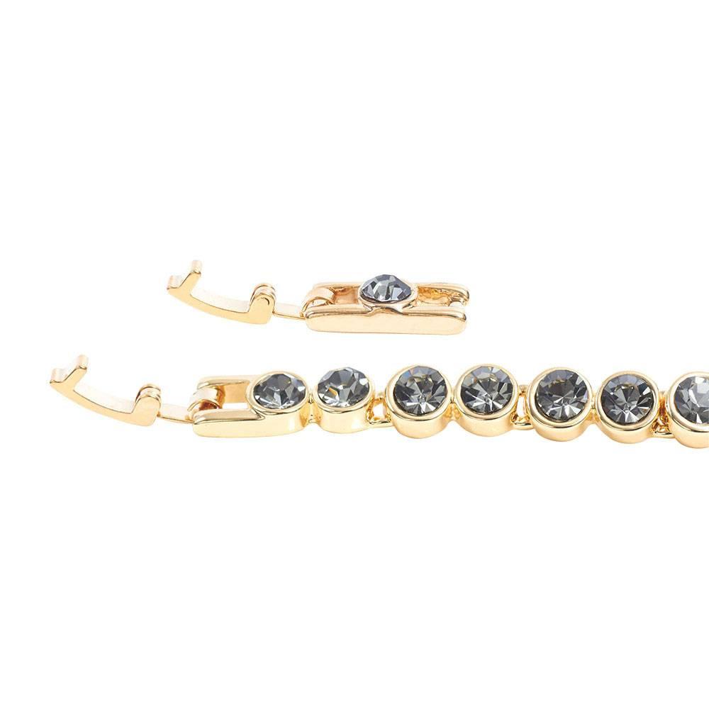 Stella-Bijou Tennisarmband, grau - Gelbgold vergoldet