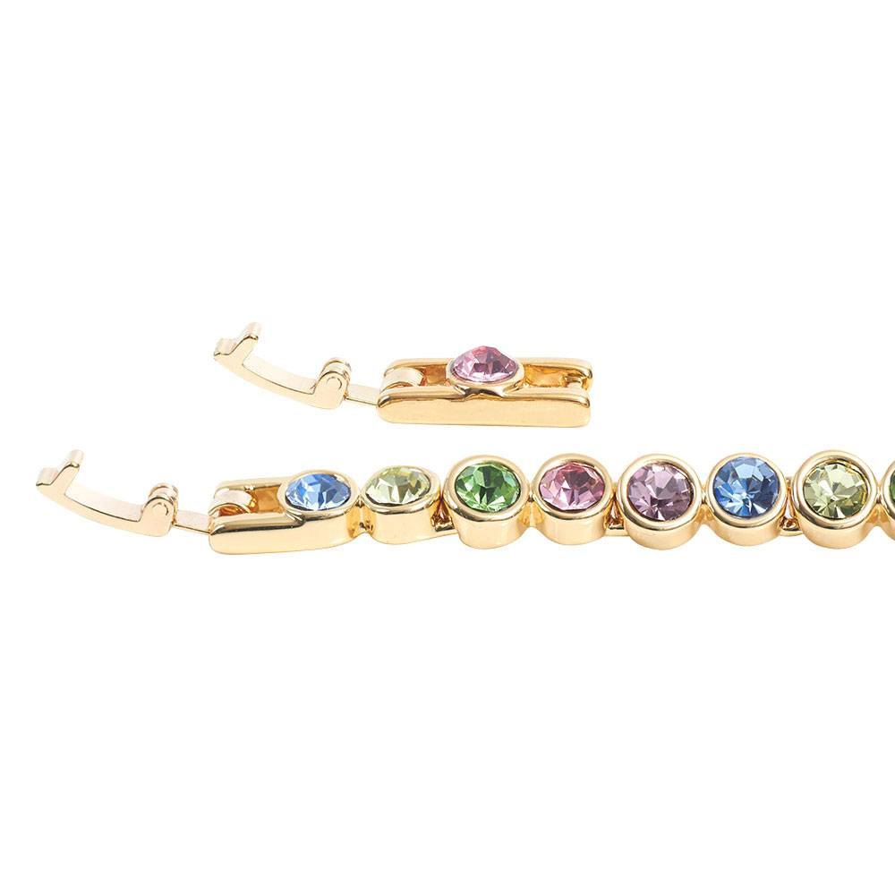 Stella-Bijou Tennisarmband, multipastell - Gelbgold vergoldet