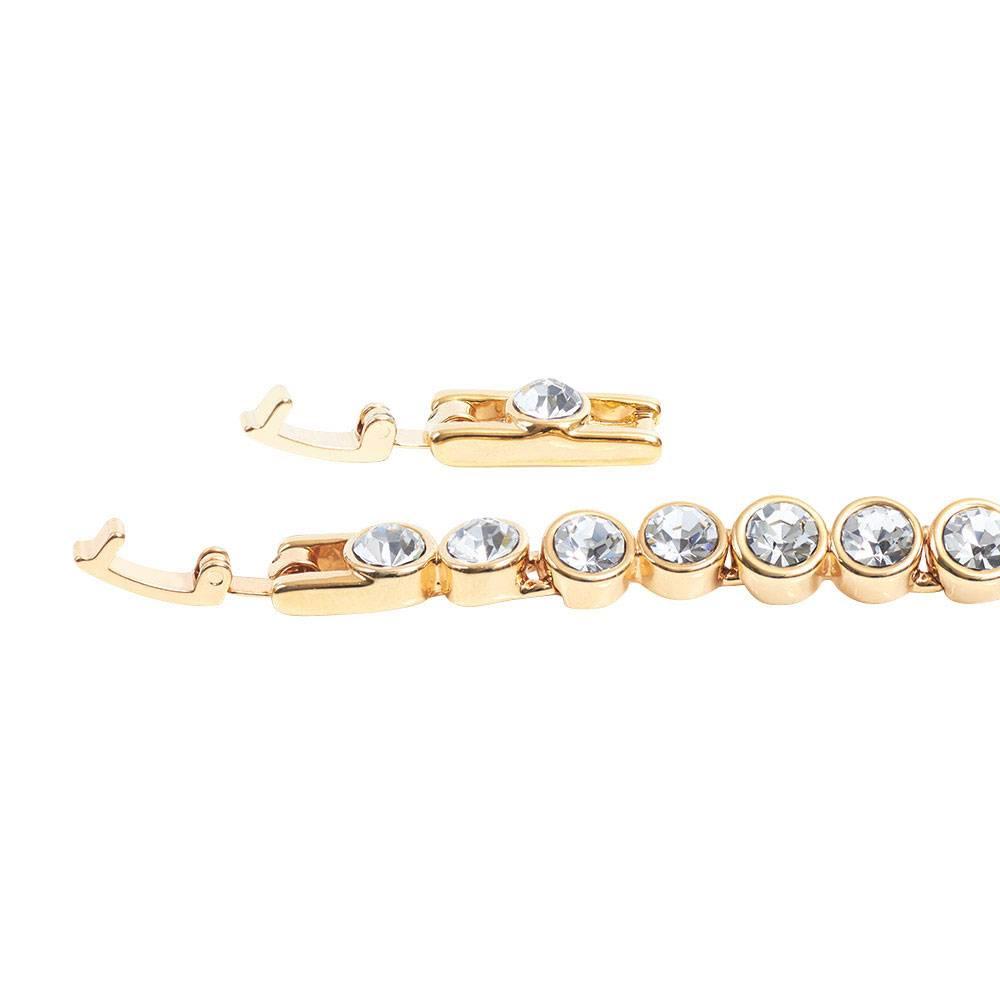 Stella-Bijou Tennisarmband, weiß - Gelbgold vergoldet