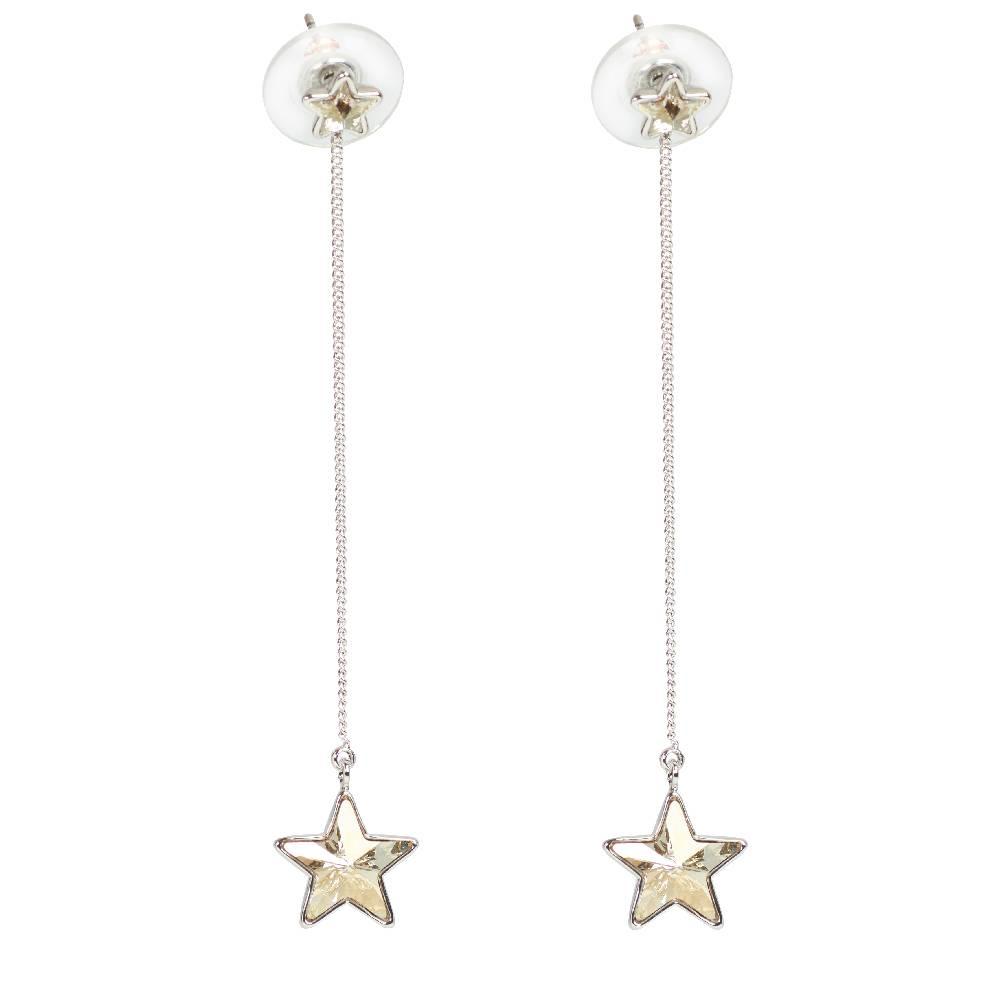 DEMI Collection Ohrring Long Star, silvershade - Weißgold vergoldet