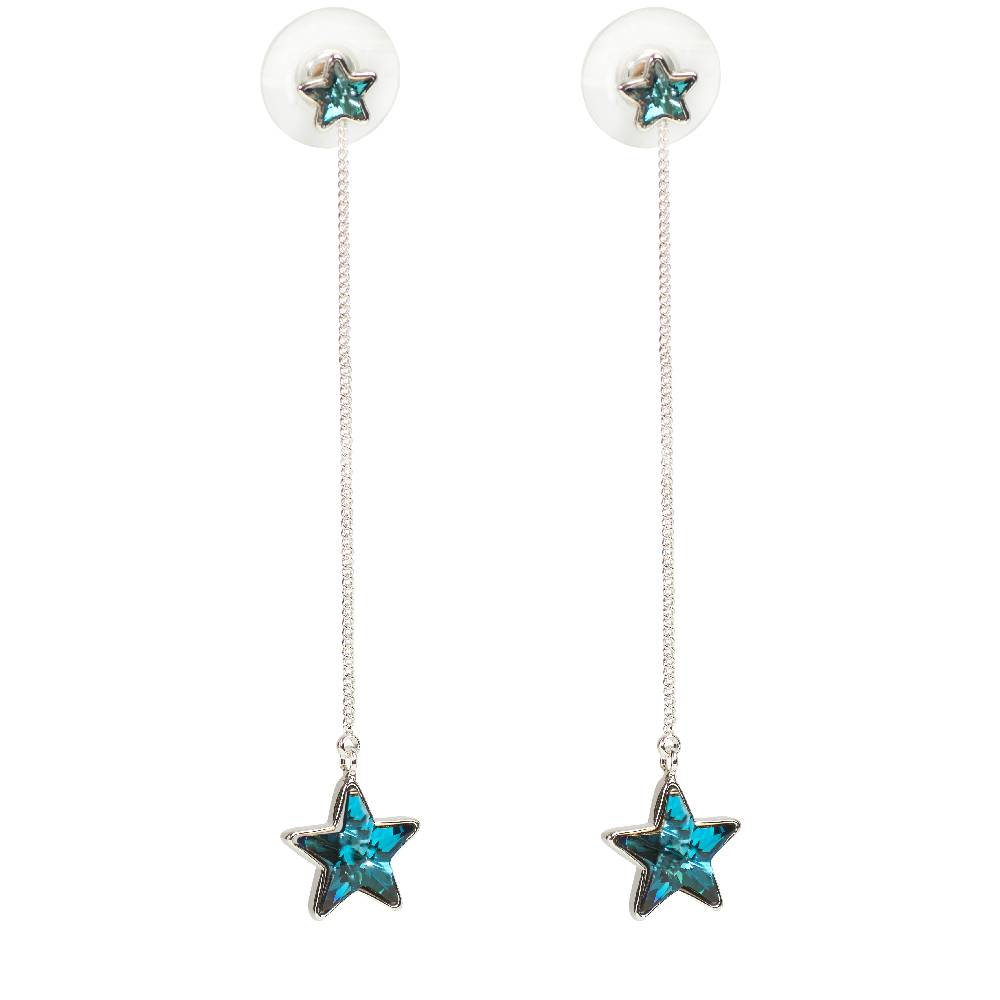DEMI Collection Ohrring Long Star, blau - Weißgold vergoldet