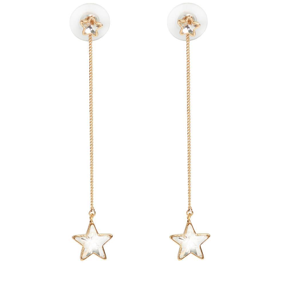 DEMI Collection Ohrring Long Star, weiß - Gelbgold vergoldet