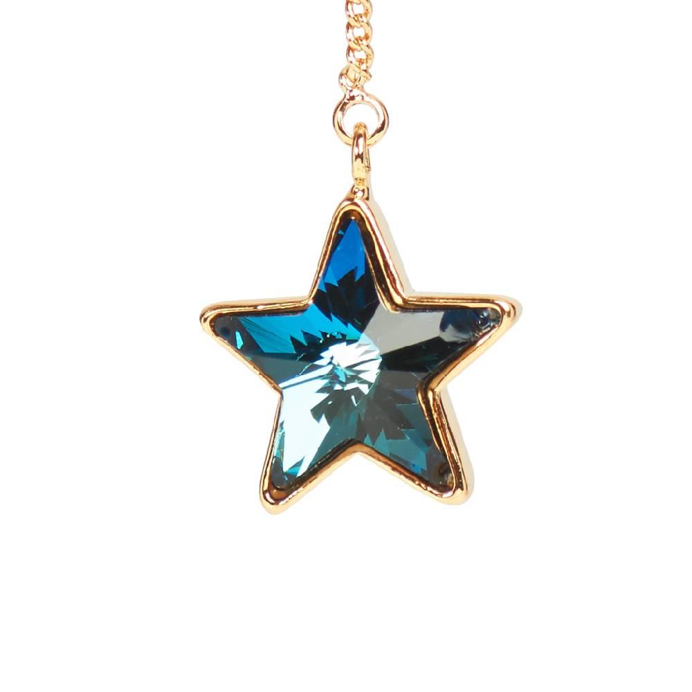 Ohrring Long Star, blau - Gelbgold vergoldet