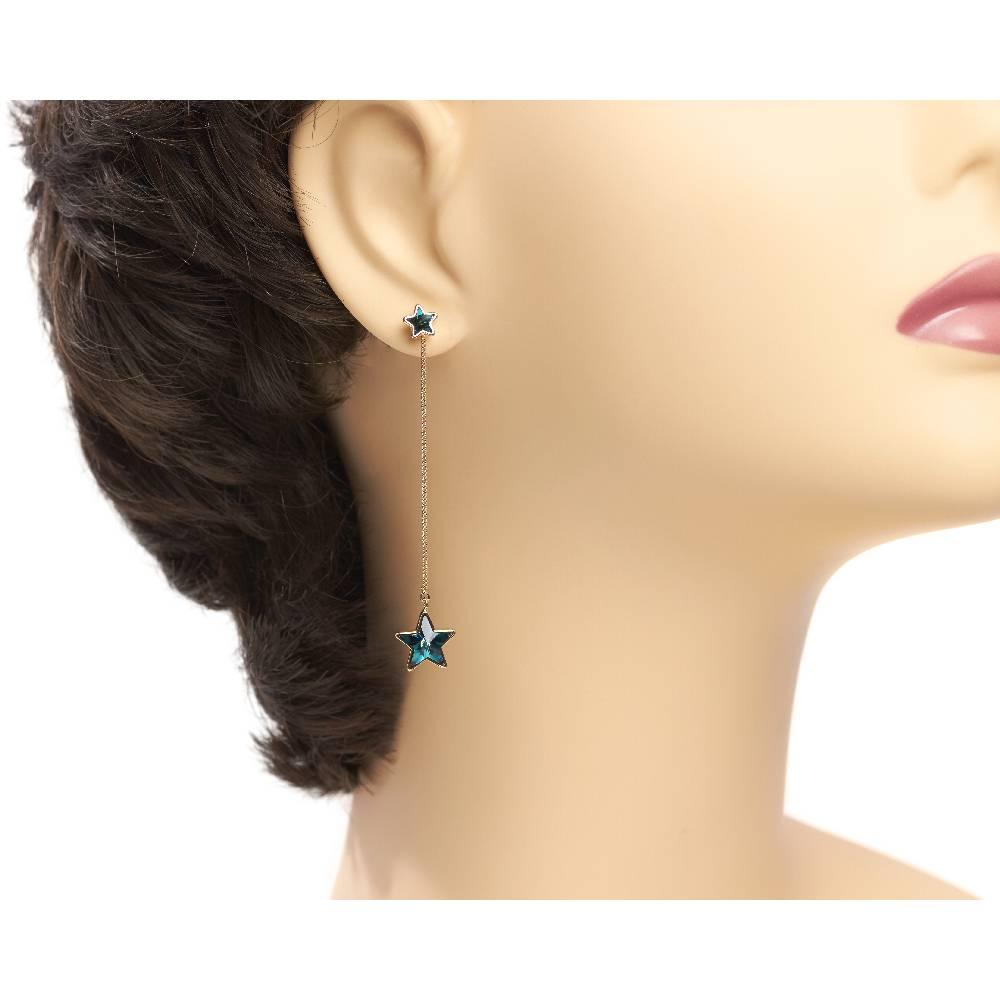 DEMI Collection Ohrring Long Star, blau - Gelbgold vergoldet