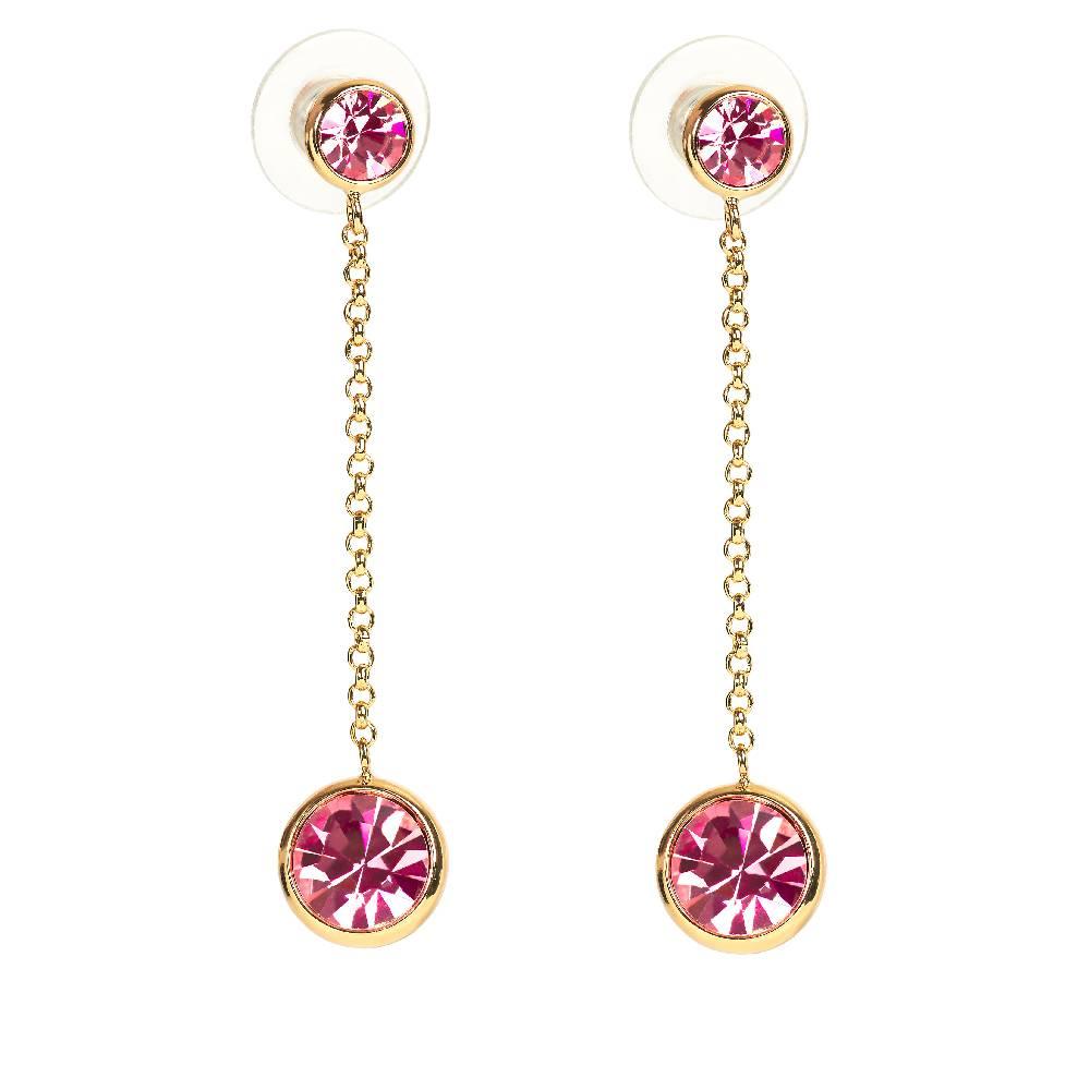 Ohrringe Thunderball, rosa - Gelbgold vergoldet