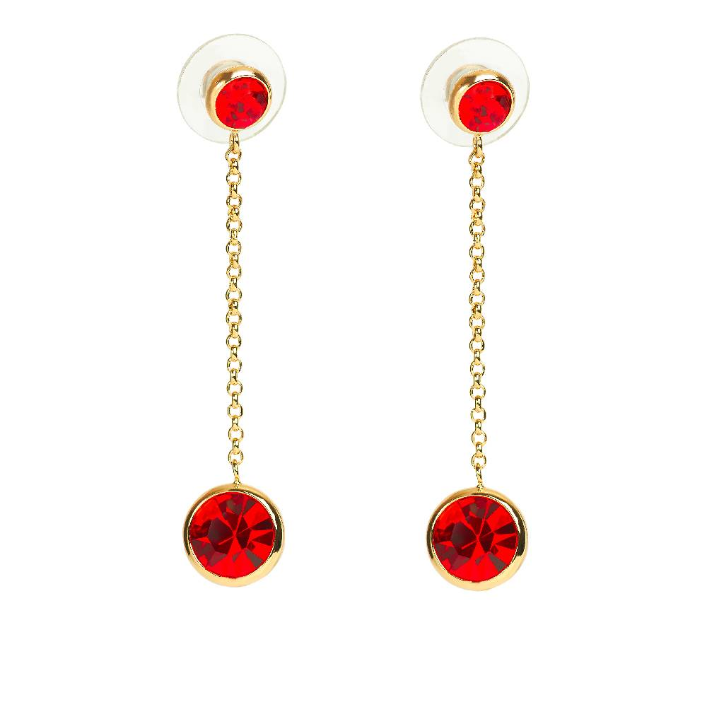 DEMI Collection Ohrringe Thunderball, rot - Gelbgold vergoldet