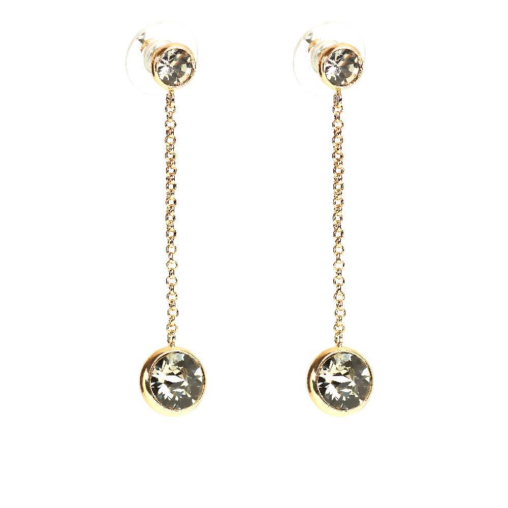 DEMI Collection Ohrringe Thunderball, dkl.grau - Gelbgold vergoldet