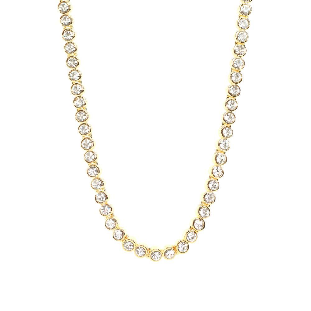 Stella-Bijou Halskette Tennis, weiß - Gelbgold vergoldet