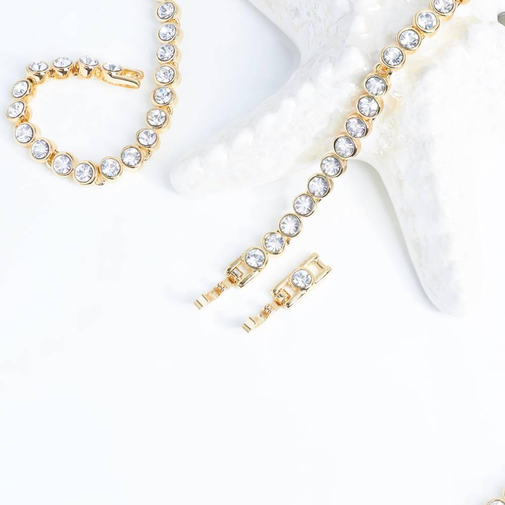 Halskette Tennis, weiß - Gelbgold vergoldet